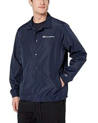 c7526c4a1 Champion Satin Coaches Jacket Navy in Blue for Men - Lyst