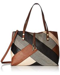 Calvin Klein - Unlined Raffia Patchwork Reversible Tote, Luggage Combo - Lyst