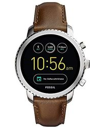Fossil - Q Gen 3 Explorist Stainless Steel And Leather Smartwatch, Color: Silver-tone, Brown (model: Ftw4003) - Lyst