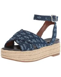 8bd062eedef Lyst - Steve Madden Brayla Denim Ghillie Platform Sandals in Blue
