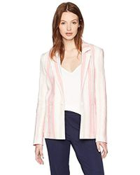 Parker - Daren Long Sleeve Striped Linen Blazer - Lyst