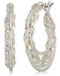 Napier - Silver Tone Clickit Hoop Earrings - Lyst