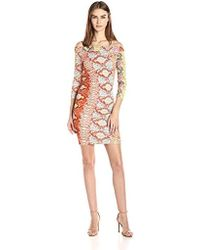 Just Cavalli - Iridescent Python Print Off Shoulder Dress - Lyst
