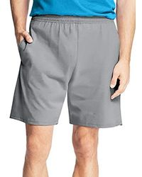 Hanes Jersey Short With Pockets - Gray
