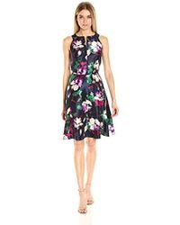 Nine West - Shantung Fit And Flared W/cf Neck Drop - Lyst