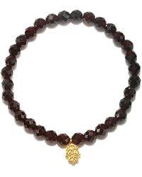Satya Jewelry - S Red Garnet Gold Hamsa Stretch Bracelet, One Size - Lyst