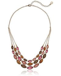 Anne Klein - Gold Tone Multi Stone Necklace - Lyst