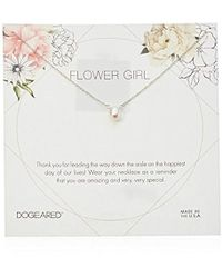 "Dogeared - Flower Girl Flower Card Small Button White Pearl Necklace, 16"" + 2"" Extension - Lyst"