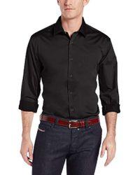 Perry Ellis - Big-tall Long Sleeve Twill Noniron Medium Spread Collar Shirt - Lyst