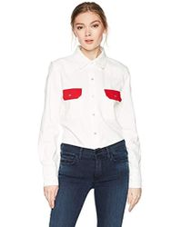 Calvin Klein - Western Lean Contrast Button Down Shirt Tango Red - Lyst