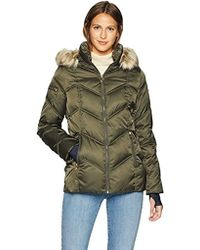 Nautica - Short Puffer Coat With Faux Fur Trim Hood - Lyst