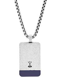 "Steve Madden - Blue Simulated Lapis Accent Dogtag Necklace On 26"" Box Chain In Stainless Steel, Silver-tone, 26 - Lyst"