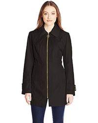 Anne Klein - Zip-front Hooded Raincoat - Lyst