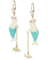 Betsey Johnson - S Purmaid And Fish Drop Earrings - Lyst