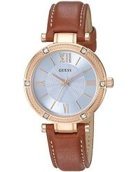Guess - U0838l2 Dressy Rose Gold-tone Watch With Blue Dial, Crystal-accented Bezel And Genuine Leather Strap Buckle - Lyst