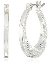 Napier - Silver Tone Small Click It Hoop Earrings - Lyst