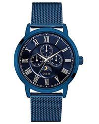 Guess - Men's Multifunction Blue Stainless Steel Bracelet Watch 43mm U0871g3 - Lyst