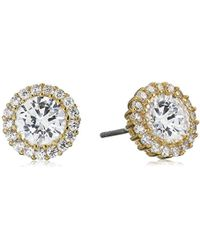 """CZ by Kenneth Jay Lane - """"basic"""" 4cttw Round Cubic Zirconia With Pave Trim Post Classic Stud Earrings - Lyst"""