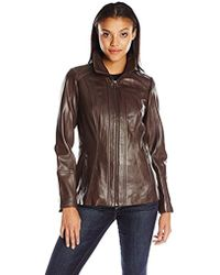 Anne Klein - Zip-front Leather Jacket With Convertible Collar - Lyst