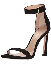 1e5e76ee7c7 Stuart Weitzman - Women s Square Nudist Suede High-heel Sandals - Lyst