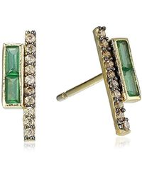 Tai - 18k Gold-plated Zircon And Pave-crystal Stick Earrings - Lyst