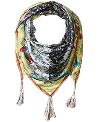 Johnny Was - Patterned Silk Square Scarf Tassels - Lyst