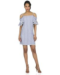 Maggy London - Seersucker Off The Shoulder Shift - Lyst