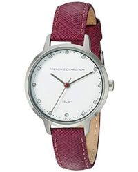French Connection - Quartz Metal And Leather Watch, Color:purple (model: Fc1254v) - Lyst