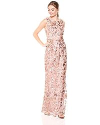 Adrianna Papell - Long Floral Cap Sleeve Sequin Dress - Lyst