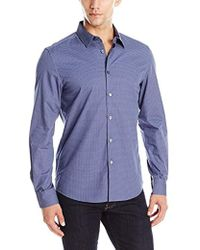 Kenneth Cole Reaction - Long Sleeve Chevron Check Shirt - Lyst