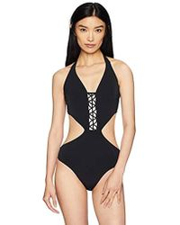 e943de4862 Ralph Lauren Blue Label Blue Label Solid Monokini Playa in Black - Lyst