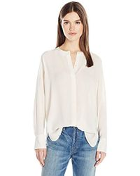 Vince - Collarless Pleat Back Blouse - Lyst