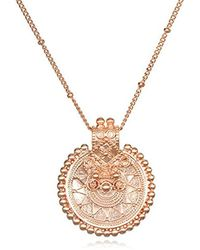 Satya Jewelry - S Rose Gold Mandala Pendant Necklace 36-inch, One Size - Lyst