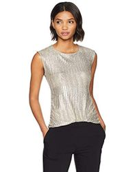 Calvin Klein - Sleeveless Metallic Top With Buttons - Lyst