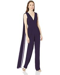 d32837b2eb44 Dress the Population - Robbie Crepe Sleeveless Plunging Jumpsuit With Shawl  - Lyst