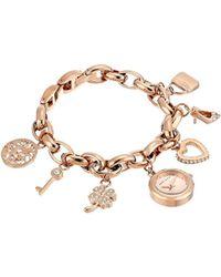Anne Klein - Swarovski Crystal Accented Rose Gold-tone Charm Bracelet Watch - Lyst