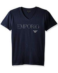 Emporio Armani - Megalogo V-neck T-shirt - Lyst