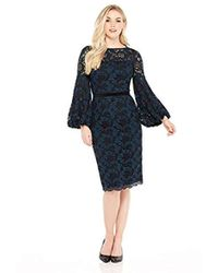 Maggy London - Plum Swirl Lace Novelty Sheath With Bishop Sleeve Detail - Lyst