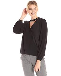 Lark & Ro - Cross Front Blouse With Collar And Button - Lyst