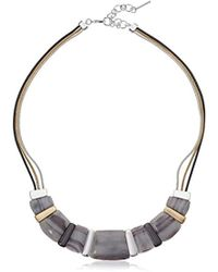 "Nine West - Tri-tone And Grey 16"" Frontal Necklace, Size 0 - Lyst"