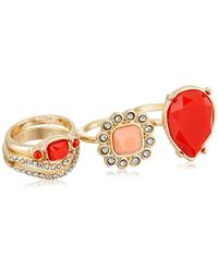 Guess - S 4 Piece Faux Coral Stack Ring Set - Lyst