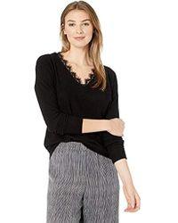 Three Dots Qq2792 Brushed Sweater Tunic W/lace - Black