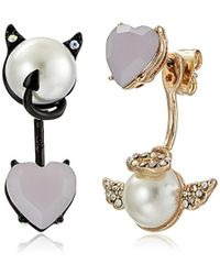 """Betsey Johnson - """"pearl Critters"""" Angel And Devil Mismatch Front/back Earrings Jackets - Lyst"""