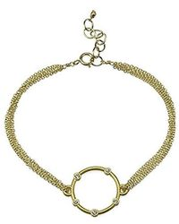"Dogeared - Small Halo With Crystals On Chain Bracelet, 6""+1"" Extender - Lyst"