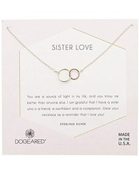 "Dogeared - Sister Love, Two Mixed Metal Linked Rings Necklace, 16"" + 2"" Extension, 0. 925 Sterling Silver - Lyst"