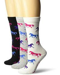 Wrangler - Ladies Horse Crew Socks 3 Pair Pack - Lyst