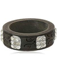 Chamak by Priya Kakkar - Wooden Square Clear Rhinestone Cuff Bracelet - Lyst