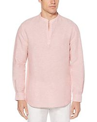 Perry Ellis - Long-sleeve Solid Linen Cotton Popover Shirt - Lyst
