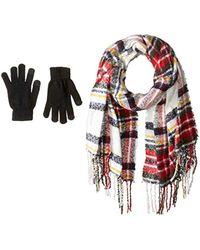 Steve Madden - Plaid Boucle Blanekt Wrap With Etouch Glove Set - Lyst