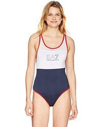 48f86072ac Emporio Armani Ea7 Sea World Core Triangle Bikini Top And Bottom Set in  Black - Save 22% - Lyst